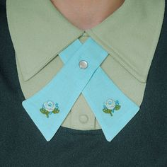Womens Neck Tie  Pastel Blue  Flower Adornments by flappergirl, $23.00
