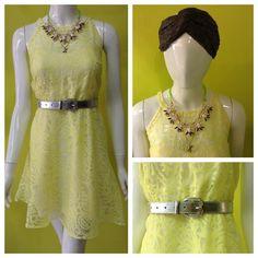 Vestido con grecas en amarillo, con una divina falda volada. Turbante de Pachamama Accesorios