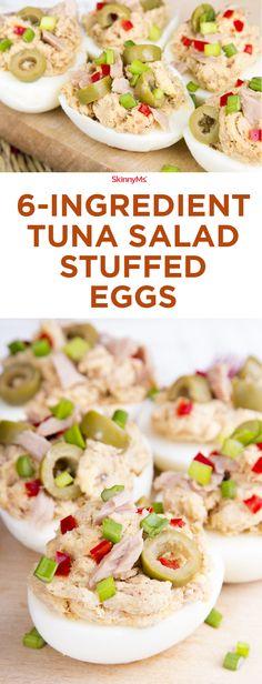 6-Ingredient Tuna Salad Stuffed Eggs - you've never had tuna salad like this before! #skinnyms