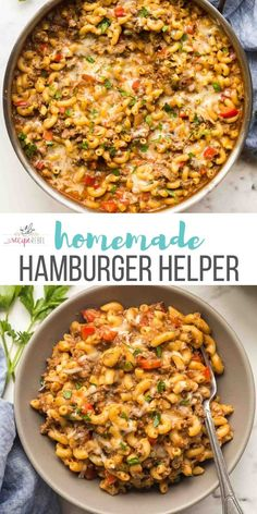 This easy Homemade Hamburger Helper recipe is made completely in one pot and better than the original! A cheesy macaroni and beef pasta made healthier. Ready in 30 MINUTES or less! Includes step by step recipe video.#onepot #pasta #dinner #recipe #healthydinner | one pot pasta | one pan meal | healthy dinner | family friendly meal | picky eaters Lunch Recipes, Easy Dinner Recipes, Pasta Recipes, Healthy Recipes, Kid Recipes, Skillet Recipes, Noodle Recipes, Recipies, Easy One Pot Meals