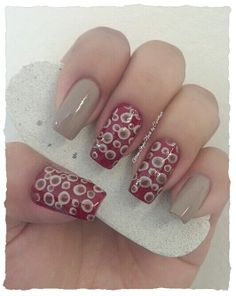 """RED & BROWN POLKA DOTS **FOR DETAILS FOLLOW MY BLOG OR DO """"LIKE"""" TO MY FACEBOOK, would be great!! All comments are welcome!!! https://www.facebook.com/glamstylenailsbycarolina **"""