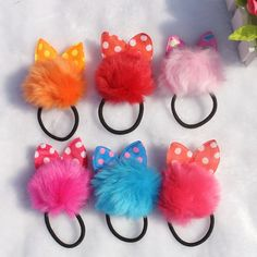 TS Girl headwear Rabbit ears elastic headress flores bow hair accessories girl flower headband kids hair rubber bands