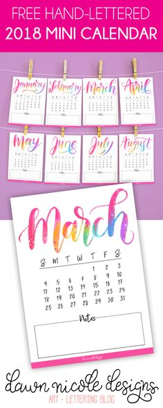 Free Printable Hand Lettered 2018 Mini Calendar. These 5×7 calendars fit perfectly on Memo Sized Clipboards! A cute and artsy way to stay organized this year.