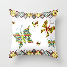 Boho Butterfly Pattern Throw Pillow