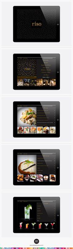 AHdesign Studio, Design de App para Riso Menu #design, #graphicdesign, #idvisual, #branding, #menudesign, #cardapio, #app, #aplicativo, #ipad, #applestore, #adesignstudio Menu Design, Layout Design, Restaurant App, Apple Picture, Digital Menu, Ios Ui, Branding, Digital Tablet, Responsive Web Design