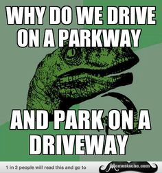 Philosoraptor - Why do we drive on a Parkway