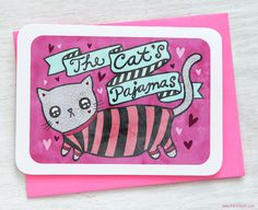 You're the Cat's Pajamas  Valentine's Day by MyZoetrope on Etsy