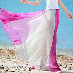 Vina Women's New Style Chiffon Contrast Color Maxi Bohemian Skirt