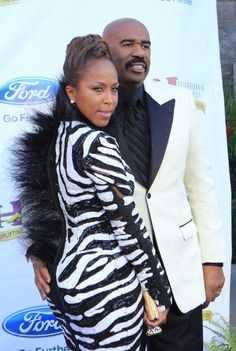 Steve Harvey and wife Marjorie on the blue carpet at the annual Ford Neighborhood Awards in Las Vegas, Nevada. Black Love, African Love, African American Movies, Business Women, Steve, Style And Grace, Fashion, Marjorie Harvey, Celebrity Couples