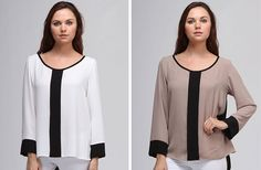 Colorblocked Long Sleeve Blouse - 4 Colors! 51% off at Groopdealz