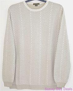 Ermenegildo Zegna Mens Sweater Crew Pullover Cotton Italy 54 Textured Beige XL #ErmenegildoZegna #Crewneck