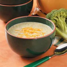 broccoli cheese soup- yummy, i used whole milk, homemade chicken broth, and spelt flour