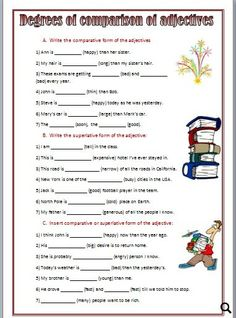 30 Degrees Of Comparison Sentences Exercises degrees of parison sentences exercises The kids can enjoy Number Worksheets, Math Worksheets, Alphabet Worksheets, Colo. English Adjectives, English Grammar Worksheets, Fun Worksheets, Alphabet Worksheets, English Vocabulary, English Test, English Lessons, English File, Learn English