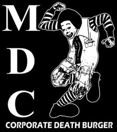 MDC 'Death Burger' Patch General Cloth Screen Printed Patch Info: Printed on high quality black canvas/cloth with white ink, or white canvas/cloth with black ink depending on availability. If you have