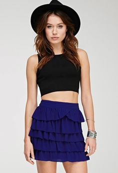 FOREVER 21+ Contemporary Tiered Ruffle Miniskirt