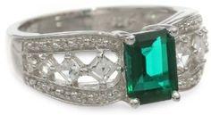Amazon.com: Sterling Silver Emerald-Cut Created Emerald Ring: Jewelry