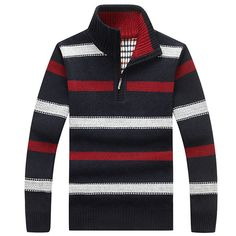 Mens Striped Knitted Thick Warm Half zipper Stand Collar Casual Sweater