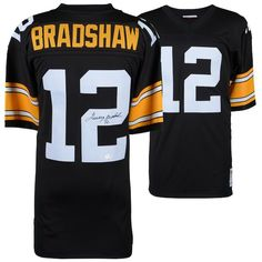 d2721de1161 Terry Bradshaw Pittsburgh Steelers Fanatics Authentic Autographed Mitchell    Ness Throwback Black Replica Jersey  PittsburghSteelers