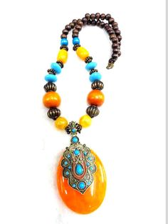 tibetan Necklace/Amber Necklace/Bohemian Necklace/Chunky Necklace/Statement Necklace /Beaded Necklace - Beaded Jewelry