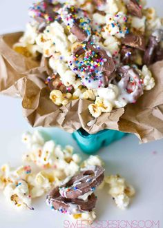 Loaded Birthday Mix Popcorn is a fun way to snack or celebrate a birthday! Try this delicious flavor combination this weekend!