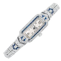 Art Deco Platinum, Diamond and Sapphire Wristwatch, circa 1920