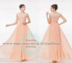 Cap Sleeves Lace Peach pink Prom Dress, Evening Dress,Bridesmaid Dress,Formal Dress,Dress for Prom