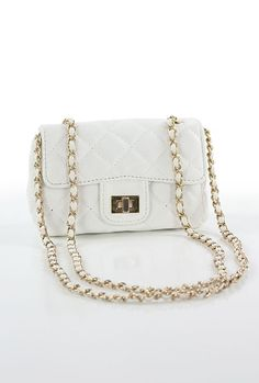 Dual Personality Quited Chain Strap Cross Shoulder Purse in White
