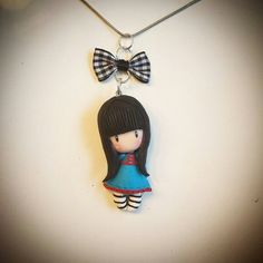 Polymer clay Gorjuss doll pendant necklace. Follow me on facebook: https://m.facebook.com/profile.php?id=1441357136106288&_rdr