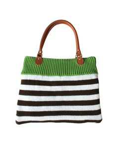 Green and Brown Stripe Bag Striped Bags, Vintage Inspired Outfits, Knitted Bags, Green And Brown, Cable Knit, Fashion Bags, Jewelry Gifts, Purses And Bags, Knit Crochet