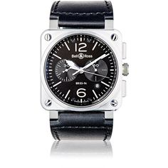 Bell & Ross Men's BR 03-94 Steel Watch (178,970 THB) ❤ liked on Polyvore featuring men's fashion, men's jewelry, men's watches, мужское, black, mens skeleton watches, mens water resistant watches, mens watches jewelry, mens stainless steel watches and mens chronograph watches