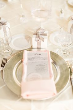 Elegant blush, cream and silver table setting