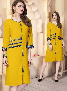 Yellow Cotton Readymade Kurti 118622 Printed Kurti Designs, Salwar Designs, Kurti Neck Designs, Blouse Designs, Frock Fashion, Fashion Dresses, Fancy Kurti, Frock For Women, Baby Frocks Designs