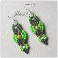 Green earrings #handmade. #macrame #macramè #beads For info contact me on my fb page http://facebook.com/artelien