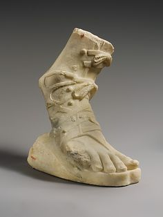 Marble right foot wearing a sandal - 1st or 2nd century A.D.