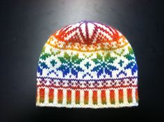 andesite's Rainbow Snowflake Hat with Mochi Plus 551 Intense Rainbow by Crystal Palace Yarns