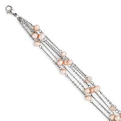 Stainless Steel 4 Strand Freshwater Cultured Pearl Bracelet - 7.5 Inch - JewelryWeb >>> Learn more @…