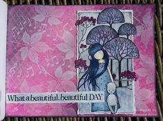 """23.3.2016 Playful art journal page 5 - What a beautiful day. Distress ink pads, white Pan pastel and Distress stains used with waterbrush in Seawhite hardcover art journal (25x19 cm / 10""""x7.5""""). http://romanassunnycreation.blogspot.ch/"""
