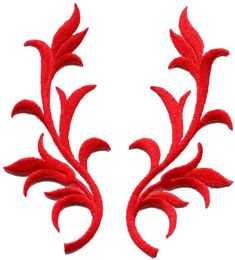 Red decorative trim fringe leaves retro boho art deco embroidered appliques iron-on patches pair Ideal for adorning your jeans, hats, bags, jackets and shirts! Each patch measures 2 inches wide by inches long. Sew On Patches, Iron On Patches, Leaf Flowers, Paper Flowers, Arabesque, Sewing Crafts, Diy Crafts, Art Deco, Decorative Trim