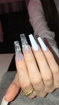 Simple Acrylic Nails, Best Acrylic Nails, White Acrylic Nails With Glitter, Long White Nails, Colored Acrylic Nails, Pink Nail, Simple Nails, Aycrlic Nails, Swag Nails