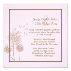 Pink and Brown Dandelion Wedding Invitation