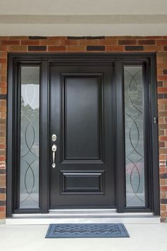 eching Front Door Paint Colors - Want a quick makeover? Paint your front door a different color. Here a pretty front door color ideas to improve your home's curb appeal and add more style! Main Door Design, Wooden Door Design, Front Door Design, House Door Design, Wooden Front Doors, Painted Front Doors, Glass Front Door, Black Entry Doors, Black Door