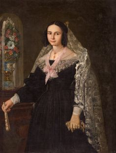 1839 Antonio Gómez Cros - Portrait of lady with mantilla and fan with lantern flowers