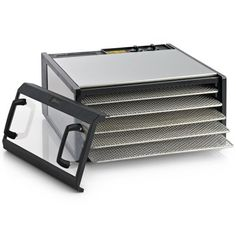 Excalibur Stainless Steel Clear Door 5 Tray Food Dehydrator w/ Timer Excalibur Dehydrator, Fruit Roll Ups, Electric Foods, Solid Doors, Plastic Trays, Homemade Yogurt, Dehydrator Recipes, Specialty Appliances, Kitchen Appliances