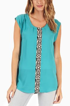 Look at this Pinkblush Turquoise & Black Damask Color Block Cap-Sleeve Top on today! Cap Sleeve Top, Cap Sleeves, Stylish Outfits, Fashion Outfits, Stylish Clothes, Casual Clothes, Fashion Ideas, Pink Blush Maternity, T Shirt Diy