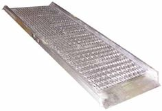 """Aluminum Grip-Strut Walk Ramps let you load and unload trucks when docks are unavailable. The open deck design allows snow, ice and water to fall through ramp providing a positive grip for delivery men, shippers and receivers. 100% welded aluminum construction is lightweight and will not rust. Ramps feature a 2"""" high safety curb on each side. Overlap style end lip rests on the trailer bed to provide a smooth transition."""