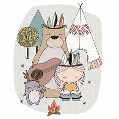 """Simply me and her"" print for nursery room, teepee, camp, cute"
