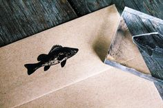 Fish Stamp - Fish Rubber Stamp - Seafood Rubber Stamp, Ocean Rubber Stamp via Etsy