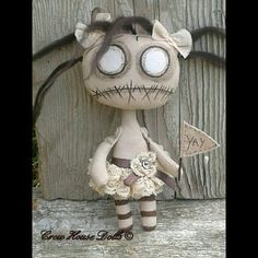 Hand Made Primitive Gothic Art  Cloth Doll - Lil' Darkling Yay For Drear by Crow House Dolls