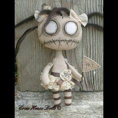 Hand Made Primitive Gothic Art Cloth Doll - Lil' Darkling Yay For Drear by Crow House Dolls