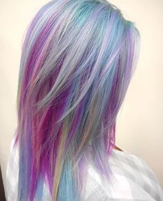 Purple Violet Red Cherry Pink Bright Hair Colour Color Coloured Colored Fire Style curls haircut lilac lavender short long mermaid b… Bright Hair Colors, Hair Color Purple, Cool Hair Color, Colourful Hair, Hair Color Highlights, Hair Color Balayage, Color Streaks, Short Hair Hacks, Short Hair Styles